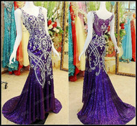 Wholesale 2014 Sexy Luxury Crystals Beaded Jewelled Sheer back Sheath Gowns Cheap V Neck Purple Sequined Prom Pageant Dresses Buy Get Free Nu Bra