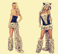 Wholesale Promotional Halloween Costume Sexy Furry Leopard Print Furry Halloween Costume Cat Wolf Leopard Nightclub DS Clothing From opec
