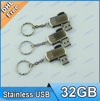 Wholesale 32GB Swivel metal Key Chain USB Flash Memory Pen Drives Sticks Disks Pen drives AH090