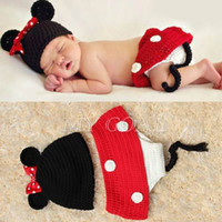 Wholesale Baby Infant Newborn Mouse Knit Costume Photography Prop Crochet Beanie Hat Cap