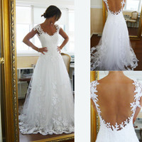 Wholesale 2014 New Arrival Wedding Gowns Dresses A Line Sweetheart White Tulle Appliques Cap Sleeve Sheer Backless Floor Length Bridal Gowns