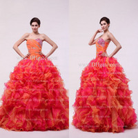 balls bracelets buy - 2013 Vintage Strapless Ruffles Beaded Organza Floor Length Colorful Ball Gown Quinceanera Dresses DH4159 Buy get Bracelet Free