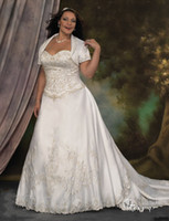 Reference Images Sweetheart Zipper Sexy Sweetheart Embroidery Lace Over Satin Plus Size Wedding Dress With Short Sleeve Jacket Super Long Train A-line Bridal Ball Gown For Fat