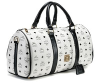 Wholesale Named brand MCM travel bags Cheap designer bags with offwhite featured signs print Boston bags for unisex atmospheric style