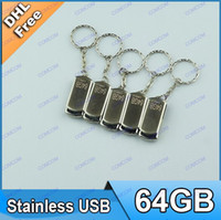 Wholesale 64GB Swivel metal Key Chain USB Flash Memory Pen Drives Sticks Disks Pen drivesAR021