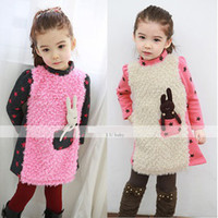 Winter Long Sleeve 100% Cotton 2013 winter new children's skirt children dress girls rabbit pocket, thick cotton long-sleeved dress girls clothing villus