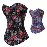 Wholesale Girl s Women s Boned Corset tops Rosette Jacquard Floral Black Blue Overbust Lace Up Sizes Best Quality