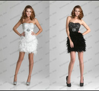 Wholesale New Arrival Bling Sequins Bustier Short Little White Black Feathers Prom Beach Party Evening Prom Cocktail Dresses Hot Sale