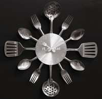 Wholesale quartz mute wall clock Knife Fork Spoon Originality clock Kitchen Restaurant The wall Decoration quartz