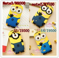 Silicone For Samsung Colorful 3D Despicable Me Cartoon soft silicone gel rubber case For Samsung Galaxy Note 3 III Note3 N9000 cute cases more minions skin cover 100pcs