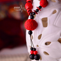 Cotton Other style Other Material Cheap Chinese national style long necklace female retro sweater chain gift carved lacquer jewelry wholesale Yunnan