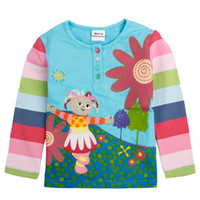 Wholesale F1005 Blue Nova children clothes m y baby girls t shirts cartoon In the night garden embroidery cotton long sleeve girls autumn tops