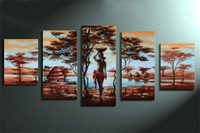 More Panel Oil Painting Fashion 5 Panels African Woman Oil Painting Real Handpaint Canvas Wall Art Excellent Design High Quality Cheap Price As Perfect Gift Top Decoration