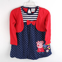 Wholesale H4351 Nova factory direct clothing m y baby girls red dress peppa pig t shirt dress cotton long sleeve polka dot false piece tunic top