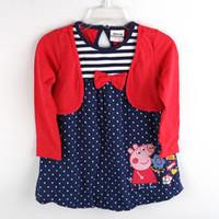 Wholesale H4351 Nova factory direct clothing m y baby girls red dress peppa pig t shirt dress cotton long sleeve polka dot false piece tunic top