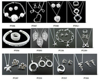Wholesale with tracking number New Fashion women s charming jewelry silver mix jewelry set