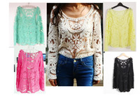 Wholesale Hot Fashion Semi Sexy Sheer Sleeve Embroidery Floral Lace Crochet Blouses