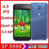 "ZTE 4.5 Android 4.1 4.5"" ZTE V956 Quad Core Qualcomm MSM8225Q 4GB GPS WiFi 5MP Camera WCDMA 3G GSM 2G Quad Band Android 4.1 Unlocked Smartphone Cell Phone"