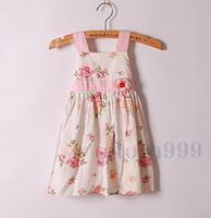 baby girl kids vintage rose flower dress floral dress strap ...