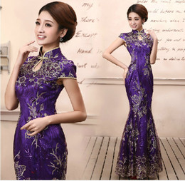 Wholesale Chinese Cheongsam Sexy Wedding Toast Party Evening Dress High Collar Mermaid Cheongsam Sequin Lace Satin prom dress