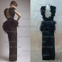 Satin Sleeveless Floor-Length 2014 Black Evening Gowns Sheath Backless Front Slit and Feathers Handmade Flowers Peplum Evening Dress dhyz 01 (buy 1 get free necklace)