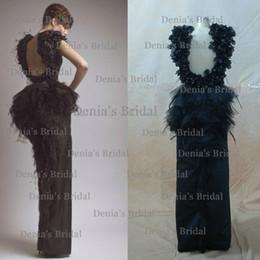 Wholesale 2014 Black Evening Dresses Long Krikor Jabotian Dresses Floor Length Backless with Peplum Handmade Flowers and Ostrich Feather