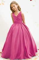 Wholesale Ball Gown V Neck Floor Length Ribbon Ruffle Satin Pageant dresses Flower Girl Dresses with Bow Back