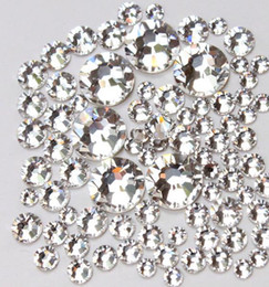 Top Quality 1440pc SS3-SS20 Crystal Clear / verre blanc Colle fixe Nail Non Hotfix Flatback strass Art Décoration Vêtements bricolage