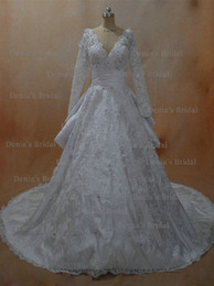 Wholesale 2016 V Neck Wedding Dresses with Long Sleeves and Detachable Train and Beaded Lace Appliques dhyz buy get free tiara