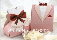 Cheap Wholesale-100pcs Pink Wedding Favor Candy boxes,Bride&Groom Wedding Souvenirs Candy Box,free shipping