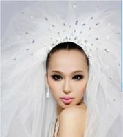 Wholesale 2016 Hot sale Rhinestone Wedding Bridal Veils Multi Layer Netting Ivory Bridal Accessories Long veils m s037