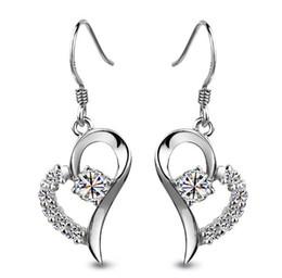 New Purple White Love Charm Swiss Diamond Heart-Shaped Stud Earrings set in 18k White Gold Plated Freeshipping