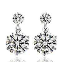 Wholesale New White Double Six Claw Love Charm Swiss Diamond Stud Earrings set in k White Gold Plated Freeshipping