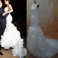 2013 Sexy Ким Кардашян Русалка спагетти ремни кружево органза Свадебные платья dhyz 01 (купить 1 получить 1 бесплатный Tiara)