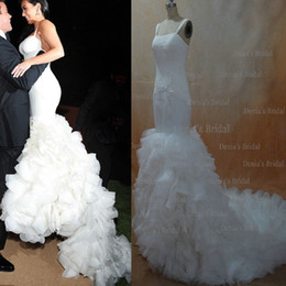 Wholesale 2013 Sexy Kim Kardashian Mermaid Spagetti Straps Lace Organza Wedding Dresses dhyz buy get free Tiara