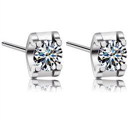 New White Love Charm Square Swiss Diamond Stud Earrings set in 18k White Gold Plated Freeshipping