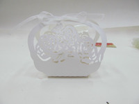 Wholesale European flower basket laser cut out Wedding gift box Candy box supply for wedding