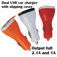 Charger Adapter For Apple  Colorful Dual USB with slipping cover 2 Port Car Charger 2.1A and 1A Auto Power Adapter for iphone 4 4S 5 5S 5C ipad Samsung 5pcs lot