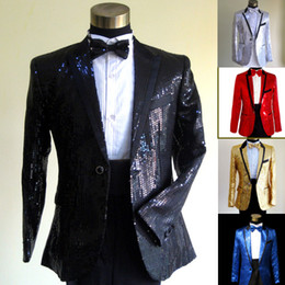 Wholesale new men s suits fashion New sequined star sequins Men singer emcee host wedding suits bridegroom suits man s suit T1045