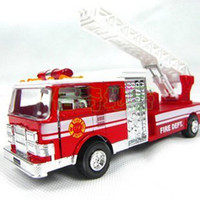 5-7 Years Truck Metal free shipping,The United States fire engines, cloud ladder car, fire truck toy sound and light alloy models