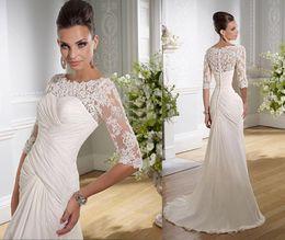 Wholesale 2013 New Coming Wedding Bridal Dresses Vintage Retro Mermaid Sleeves Lace Appliques Chiffon