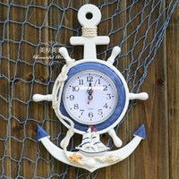 anchor wall decoration - Mediterranean Style Wooden Anchor Wall Clock Rudder Wall Clock Creative Home Decoration Children s Room Decor Wall Decoration Non mute Clock