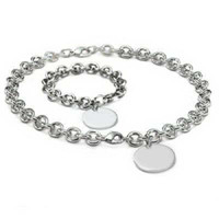 Wholesale 1pcs Round Jewelry Sets Womens Silvering Silver Plating Bracelets Necklaces Good Quality
