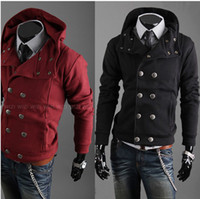 Men Cotton Couple Fashion Free shipping new arrive Men's Slim Top Designed Sexy Hoody Jacket Coat double-breasted pea coat 1697