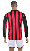 Wholesale Top Quality Long Sleeve Home Red Black Soccer Jerseys and Shorts Italy Milan Football Jerseys