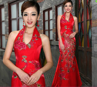 Wholesale Chinese traditional wedding dress bride cheongsam evening dress
