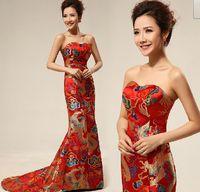 Wholesale Brand New Chinese Embroidery cheongsam Dragon Phoenix Image Mermaid wedding dress Lady party Long Training Prom evening Dresses