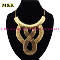 Wholesale Vintage Gold Color Metal Pieces Combination Choker Statement Necklace Fashion Alloy Jewelry Casual Dress Ornament N1159