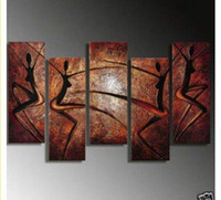 More Panel Oil Painting Abstract Framed 5 Panel Large Interior Decoration Abstract Oil Paintings Dance 5 Piece Canvas Art Brown Wall Picture Home Decor XD01649