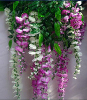 Wholesale LLFA2839 Brand new Yellow Blue purple white Simulation Flower Artificial silk flower wisteria vine Douhua wedding home decoration
